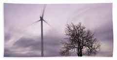 Wind Power Station, Ore Mountains, Czech Republic Beach Sheet