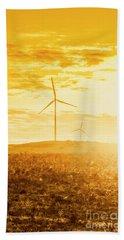 Windfarm Sunset Beach Towel