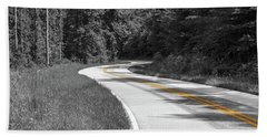 Winding Country Road In Selective Color Beach Towel