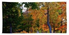 Winding Road In Autumn Beach Sheet