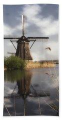 Windmill At Kinderdijk In Holland Beach Towel