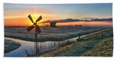Windmill At Sunrise Beach Towel by Frans Blok