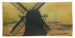 Windmill At Sunset Beach Towel by Francine Heykoop