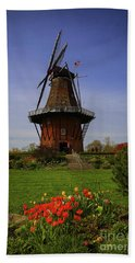 Windmill At Tulip Time Beach Sheet by Rachel Cohen