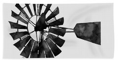 Windmill In Black And White Beach Towel