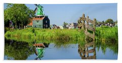 Windmill Reflection Beach Towel