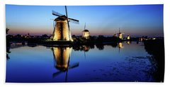 Windmills At Dusk In The Blue Hour Beach Sheet