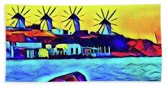 Windmills At Mykonos Beach Towel
