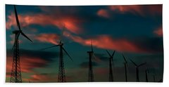 Beach Towel featuring the photograph Windmills At Sunrise by Chris Tarpening