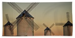 Beach Towel featuring the photograph Windmills In Golden Light by Heiko Koehrer-Wagner
