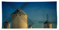 Beach Towel featuring the photograph Windmills Under Blue Sky by Heiko Koehrer-Wagner