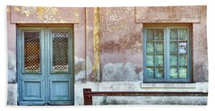 Beach Towel featuring the photograph Window And Door Of Old Train Station by Eduardo Jose Accorinti