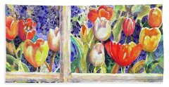 Window Box Tulips Beach Towel