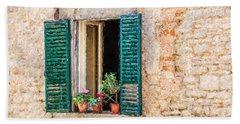 Window Flowers Of Tuscany Beach Towel