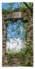 Beach Towel featuring the photograph Window Ruin At Bridgetown Millhouse Bucks County Pa by Bill Cannon