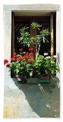Beach Towel featuring the photograph Window With A Tree by Donna Corless