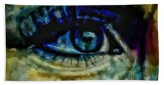Windows Into The Soul Eye Painting Closeup All Seeing Eye In Blue Pink Red Magenta Yellow Eye Of Go Beach Sheet