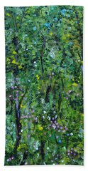 Beach Towel featuring the painting Windsor Way Woods by Judith Rhue