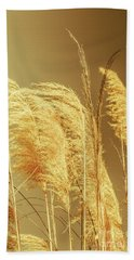 Windswept Autumn Brush Grass Beach Towel