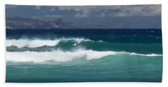 Beach Towel featuring the photograph Windswept Ho'okipa by Susan Rissi Tregoning
