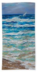Beach Towel featuring the painting Windy Day 40 by Linda Olsen
