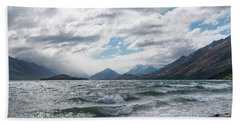 Beach Towel featuring the photograph Windy Day On Lake Wakatipu by Gary Eason