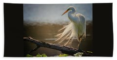 Windy Egret  Beach Towel