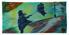 Beach Towel featuring the painting Windy Escapade by Leslie Allen
