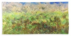 Beach Towel featuring the painting Windy Fields by Norma Duch