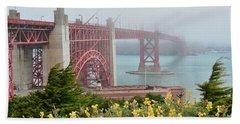 Windy Foggy Golden Gate Bridge  Beach Towel