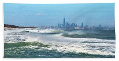 Windy View Of Nyc From Sandy Hook Nj Beach Sheet by Gary Slawsky