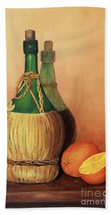 Wine And Oranges Beach Towel by Pattie Calfy