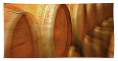 Beach Towel featuring the photograph Wine Barrels Abstract by Stuart Litoff