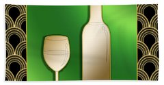 Beach Sheet featuring the digital art Wine Bottle And Glass - Chuck Staley by Chuck Staley
