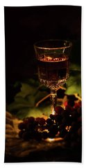 Wine Glass And Grapes Beach Towel