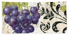 Wine Grapes And Damask Beach Towel