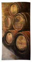 Beach Sheet featuring the painting Wine In The Barrels - Chateau Meichtry by Jan Dappen
