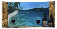 Beach Sheet featuring the painting Wine Thirty - Oceanside by Jan Dappen