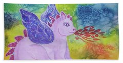 Beach Towel featuring the painting Winged Dragon by Ellen Levinson