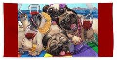 Wining Pile Of Pugs Beach Sheet