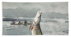 Beach Towel featuring the painting Winslow Homer   Pike  Lake St  John 189 7 by Artistic Panda