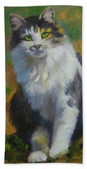 Winston Cat Portrait Beach Towel by Alice Leggett