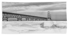 Beach Towel featuring the photograph Winter At Mackinac Bridge by John McGraw