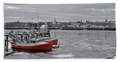 Winter At Newburyport Harbor Beach Towel