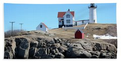 Winter At Nubble Point Beach Towel