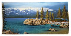 Winter At Sand Harbor Lake Tahoe Beach Towel