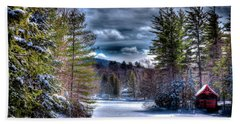 Beach Towel featuring the photograph Winter At The Boathouse by David Patterson