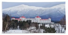 Winter At The Mt Washington Hotel Beach Sheet by Tricia Marchlik