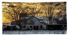 Winter Barn At Sunset - Provo - Utah Beach Sheet by Gary Whitton