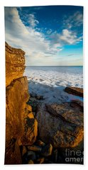 Winter Beach Sunset Beach Towel